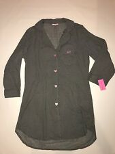 NWT $49 Betsey Johnson Black &White Striped Sleepshirt Cotton Lawn Night Gown M