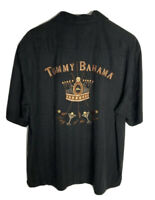 Tommy Bahama Men's Silk Button Down Shirt King Of The Green Graphic Black M