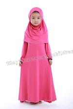 Girls Children Muslim Long Dress Kaftan Islamic Arab Jilbab Abaya+ Hijab Sets L