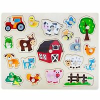 Professor Poplar's Jumbo Barnyard Helper Animals Wood Peg Puzzle