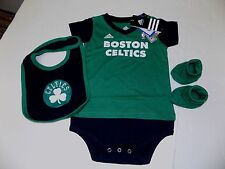 BOSTON CELTICS ADIDAS CREEPER WITH BIB AND BOOTIES SIZE 18 MONTHS NWT