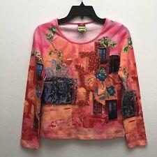 Save The Queen Marco Fantini Design Firenzi Women M Art Bead LS Crop Shirt Italy
