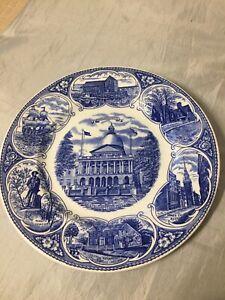 1971 Vintage Blue White Plate Massachusetts