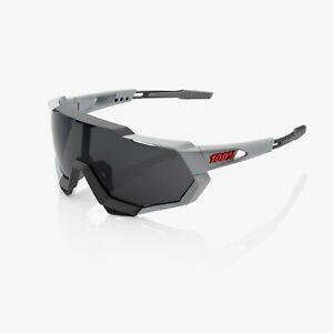 100% Speedtrap Soft Tact Stone Grey Sunglasses, Smoke Lens + Clear Lens