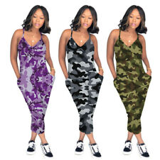 Sexy Women Camouflage Printed Spaghetti Strap V Neck Casual Sport Club Jumpsuit