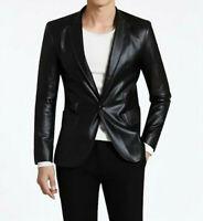 Men's Genuine soft Lambskin Leather Blazer Jacket TWO BUTTON Coat Black Jacket