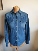 Acne Womens Denim Blue Shirt Size XS/6 UK 🇬🇧 Very Good Condition 👍 Poppers