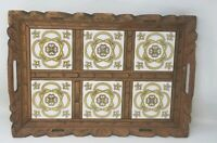 """Vintage Serving Tray Carved Wood and Ceramic Tile - Yellow & White 19"""" x 13"""""""