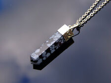 Snowflake Obsidian Crystal Hexa Point Pendant Natural Gemstone Necklace Healing