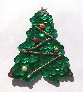 Vintage 1980's Medium Christmas Tree Beaded Sequined Applique Sew On Craft Patch