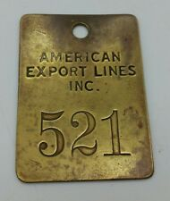 More details for vintage us american export lines inc brass work corporation company badge token