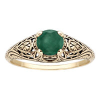 10k Yellow Gold Vintage Style Genuine Round Emerald Scroll Ring