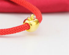 Pure 24K Yellow Gold Bracelet 3D Apple Bead with Red Cord Bracelet 17cm