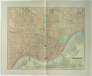 Cincinnati, Ohio - Original 1891 Street & Railroad Map Hunt & Eaton. Antique