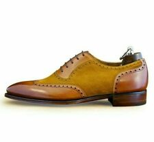 Handmade Men's brown suede leather Dress brogue shoes leather wingtip shoes