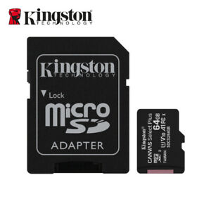 Kingston 64GB microSD SDHXC C10 UHS-I A1 Memory TF Card 100MB/s + AD for Phone