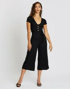 Missguided Size 4 Rib V-Front Button Culotte Jumpsuit