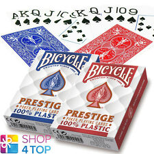 2 DECKS BICYCLE PRESTIGE 100% PLASTIC POKER PLAYING CARDS JUMBO RED BLUE USA NEW