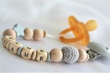 PERSONALISED DUMMY CLIP HOLDER SOOTHER WOODEN SILICONE SHOWER EASTER GIFT