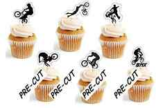 bmx bike, boys  X24 edible stand up cup cake toppers wafer paper *pre-cut*