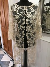 Stunning Carla Ruiz Ocassion Gold Long Lace Size 14 Jacket Coat 94872 New