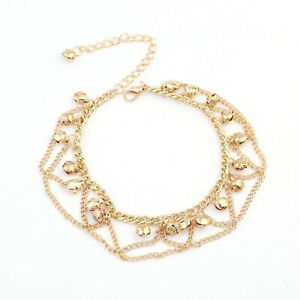 18k Yellow Gold Women's Adjustable Anklet Ankle Layered Bracelet Link Chain D579