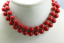"""Vintage red plastic bead gold tone spacers 10mm beads strand necklace 24"""""""