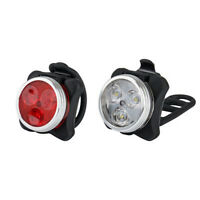 Rechargeable USB Cycling Bicycle Bike 3 LED Head Front Rear Tail Clip Light Lamp
