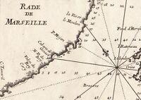 Carte Géographique XVIIIe Rade Marseille 1764 Iles Pomègues Ratonneau Tiboulen