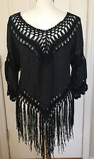 GEORGEOUS! Boho Hippie Chic Crochet Long FRINGE Tunic Top BLACK Fits XS-M