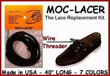 Dark Brown ~ Leather Laces for Boat, Deck Shoes Mock-Lacer
