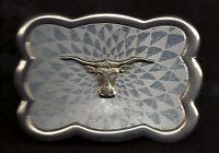 Vintage Buckle TEXAS LONGHORN STEER Gold  & Nickel Plated Silver