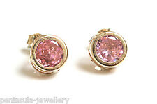 9ct Gold Pink CZ studs Earrings Made in UK Gift Boxed