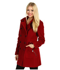 NWT Andrew Marc Scarlet Red Military Precise Wool Coat Jacket Size 12 $465