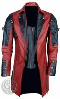 MENS REAL LEATHER GOTH MATRIX TRENCH COAT STEAMPUNK GOTHIC RED BLACK