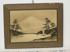 Vtg Japanese Hand Painted Sumi Framed Picture
