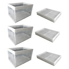 6 Folding Plastic Crate Collapsible Storage Box Reusable Utility Container Clear