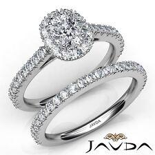 2.1ct French V Cut Pave Bridal Cushion Diamond Engagement Ring GIA E-VVS2 W Gold