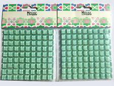 2 Plaques 81 Carrés mosaïque verre vert translucide 1 cm, 150 grammes Décoration