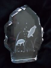 Manatee and Baby Under Water Clear Glass Sculpture Etched Paperweight New In Box