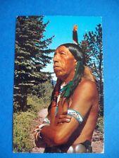 NATIVE INDIAN WARRIOR BRAVE FEATHER HEADDRESS VINTAGE POSTCARD