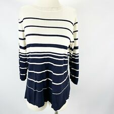 Coldwater Creek 1X 18 Navy Stripe Sweater Nautical