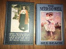 Silver Horde 1909 & Ne'er Do Well 1911 By Rex Beach Cloth Antique Book Blue Grey