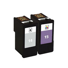 2 Pack Black & Tri-color Ink Cartridge for Lexmark 14 15 Fit X2600 X2630 Z2300