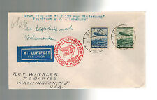 1936 Berlin Germany  FFC Hindenburg Zeppelin first flight cover to USA LZ 129