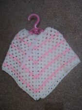Baby/toddler hand crochet granny square poncho pink acrylic easy care retro
