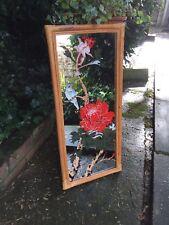 Boho 70s bamboo cane wall mirror, Chinese Japanese Mirror Bird Mirror