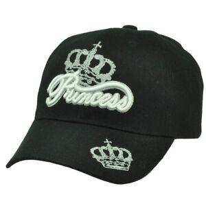 Princess Crown Blck White Hat Cap Curved Bill Adjustable Royalty Acrylic Pretend