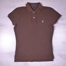 Ladies RALPH LAUREN Brown Vintage Designer Polo Shirt T-Shirt Medium #F2062