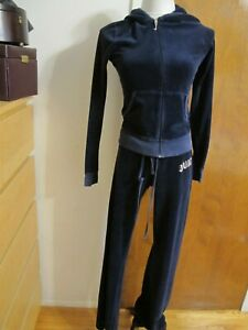 Juicy Couture Women's Navy Velour Suit Sweat Jacket and Pants Medium
